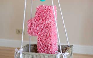 Цветы на 1 рождения из гафрированной бумаги