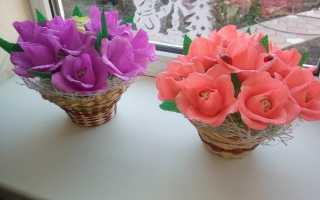 Цветы из гофрированной бумаги на 8 марта